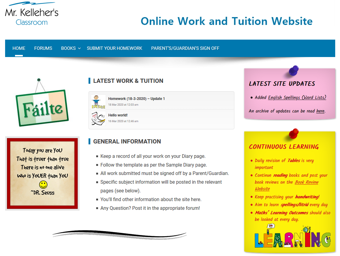 Online Tuition Website (Click on image to go to the login page)